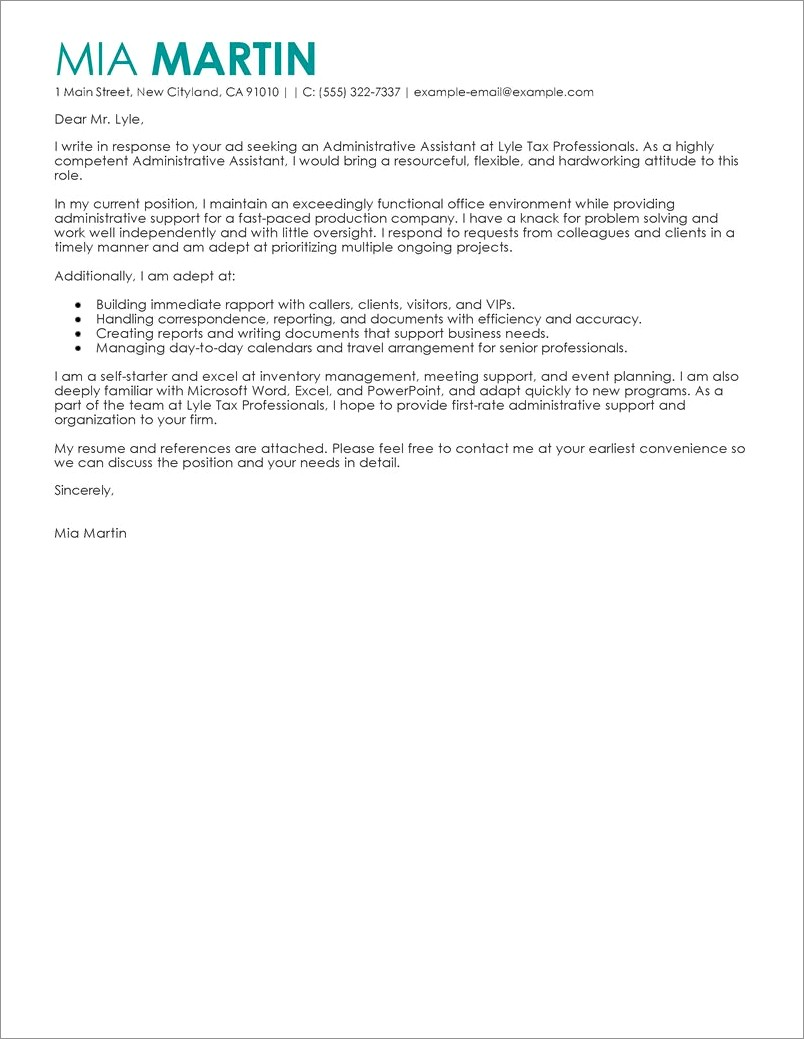 Entry Level Administrative Assistant Cover Letter Sample