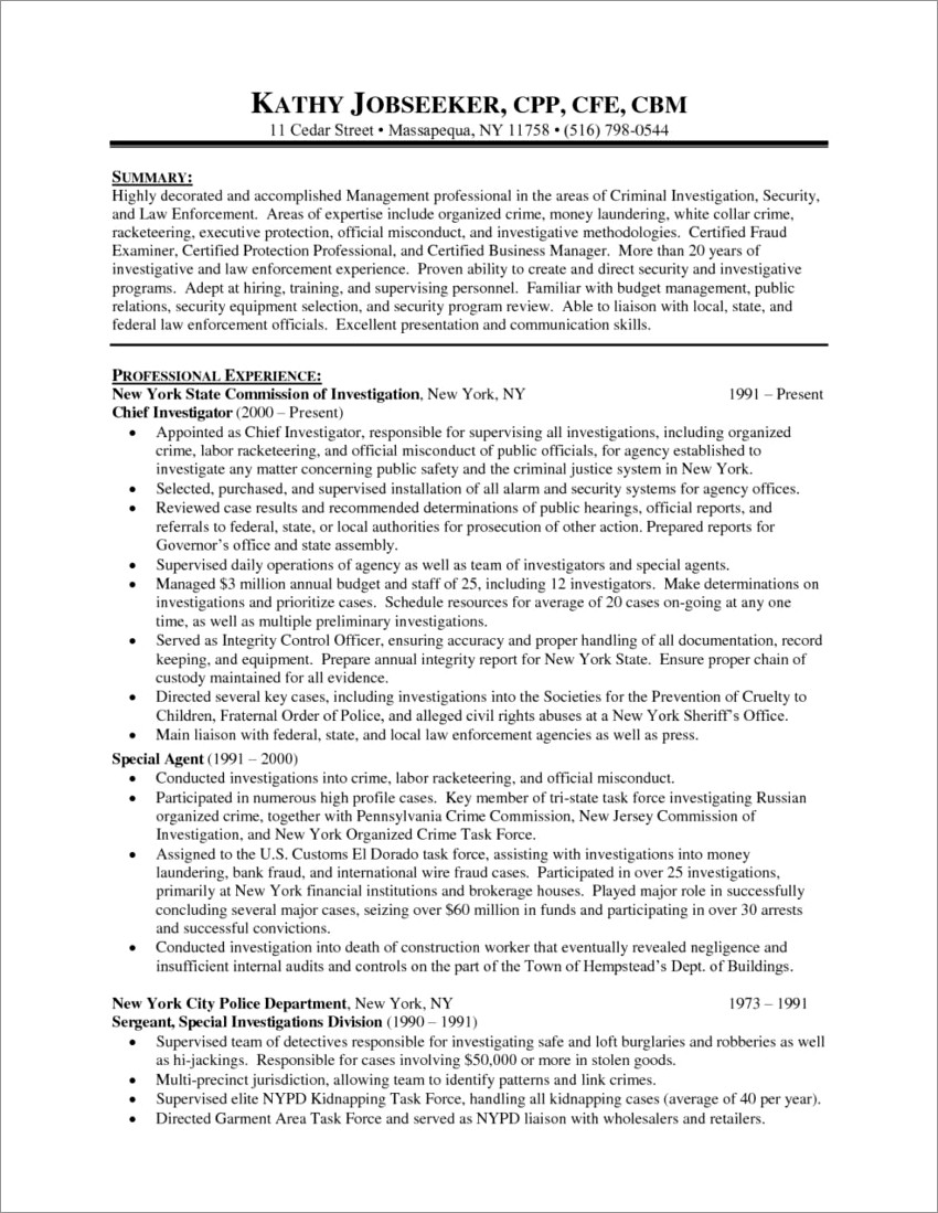Entry Level Investigator Cover Letter