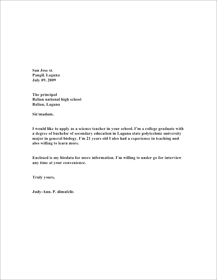 Esl Teacher Cover Letter Pdf