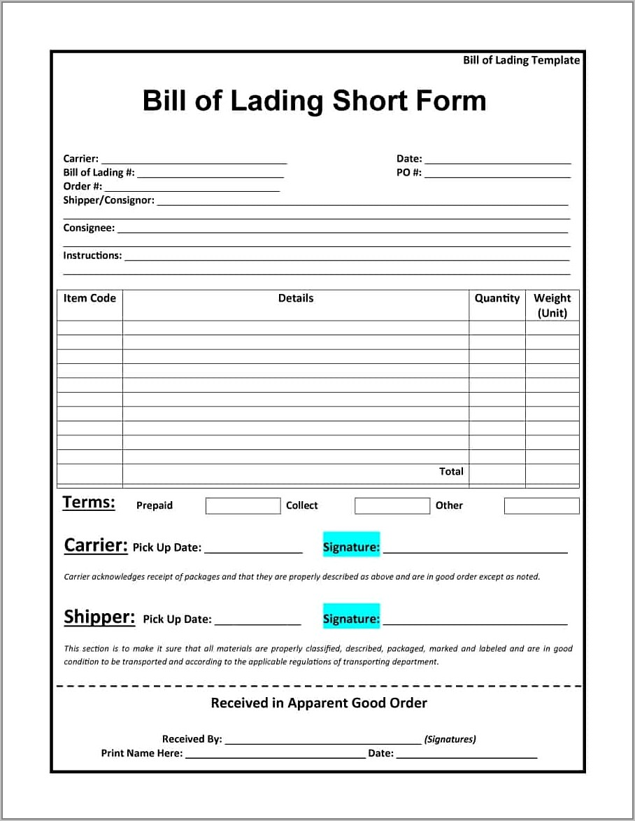 Example Bill Of Lading Form