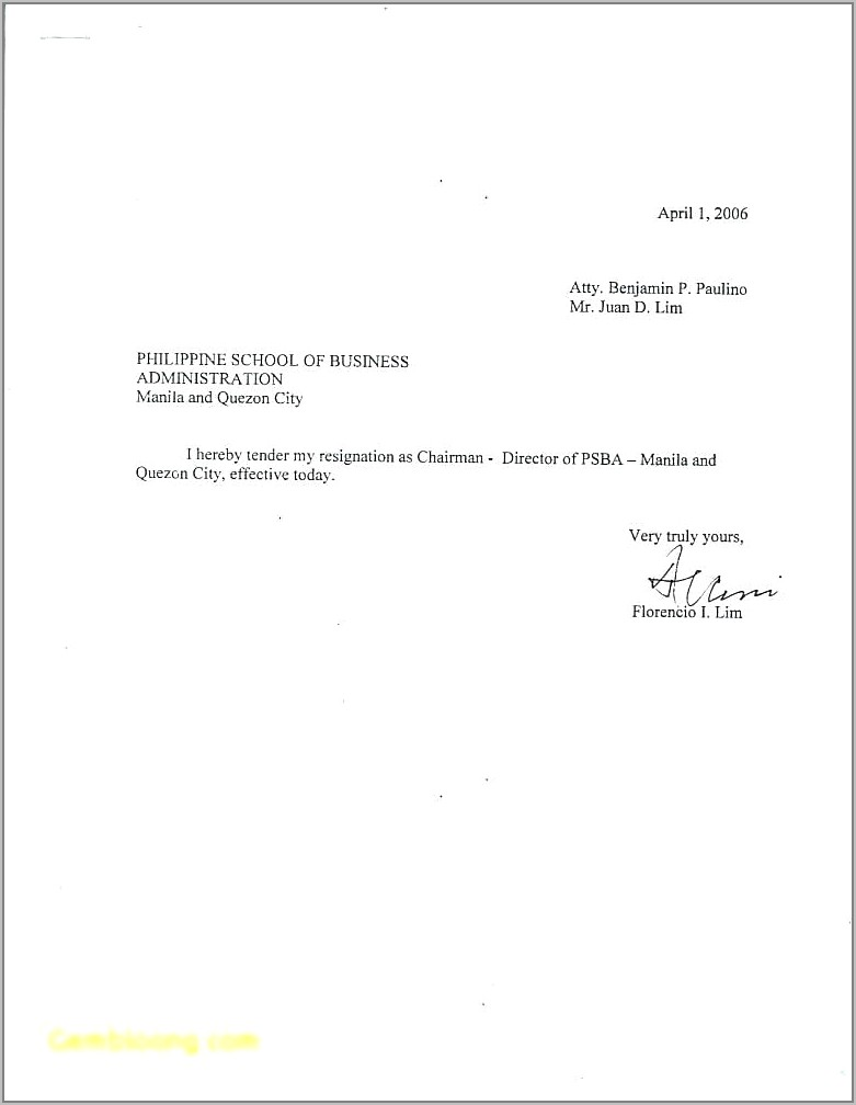 Example Letter Of Resignation Template