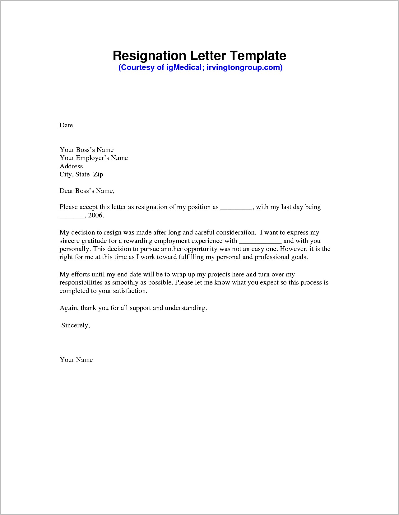 Example Of Letter Of Resignation Pdf