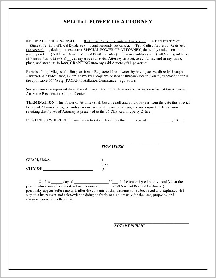 Example Of Power Of Attorney For Property