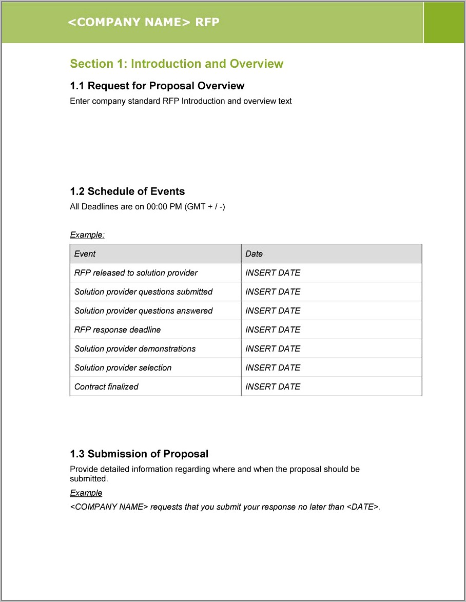Example Request For Proposal Template