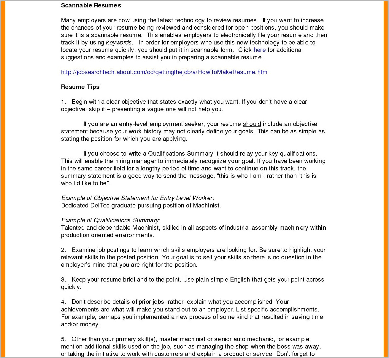 Example Resume For Customer Service Rep