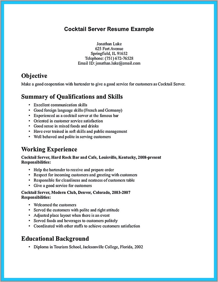 Example Resume For Server Position