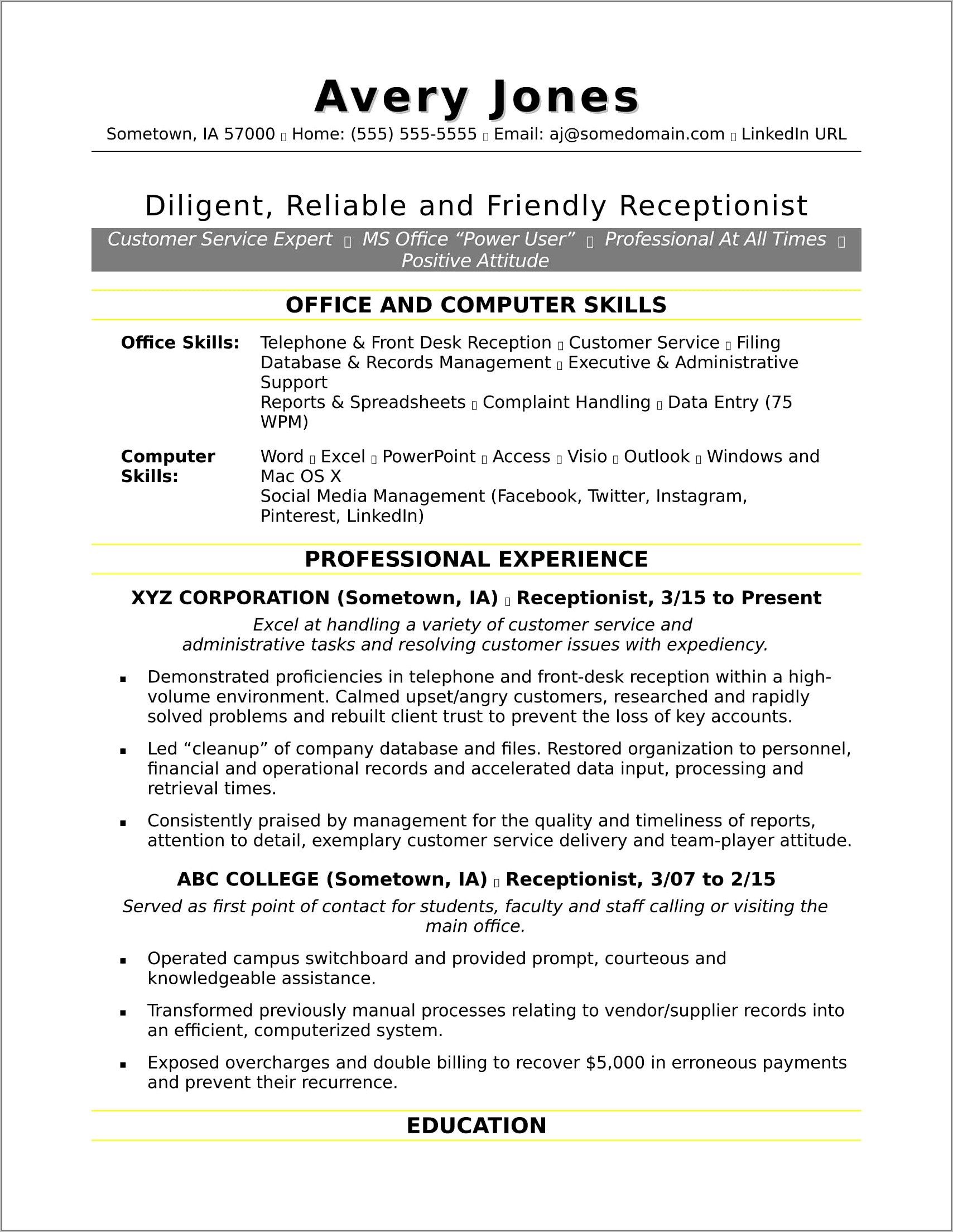 Examples Of Skills For Customer Service Resume