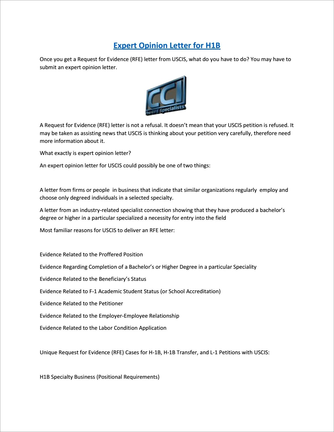Expert Opinion Letter For H1b Rfe