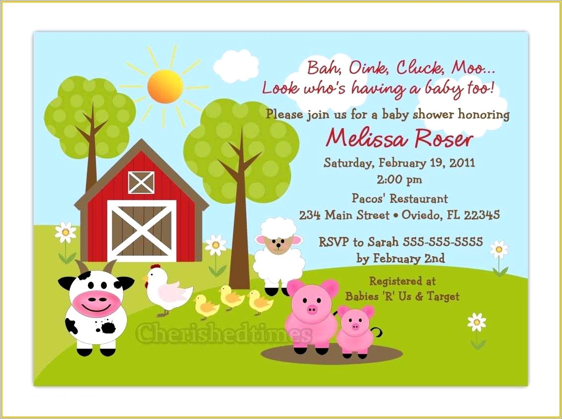 Farm Animal Invitation Template Free