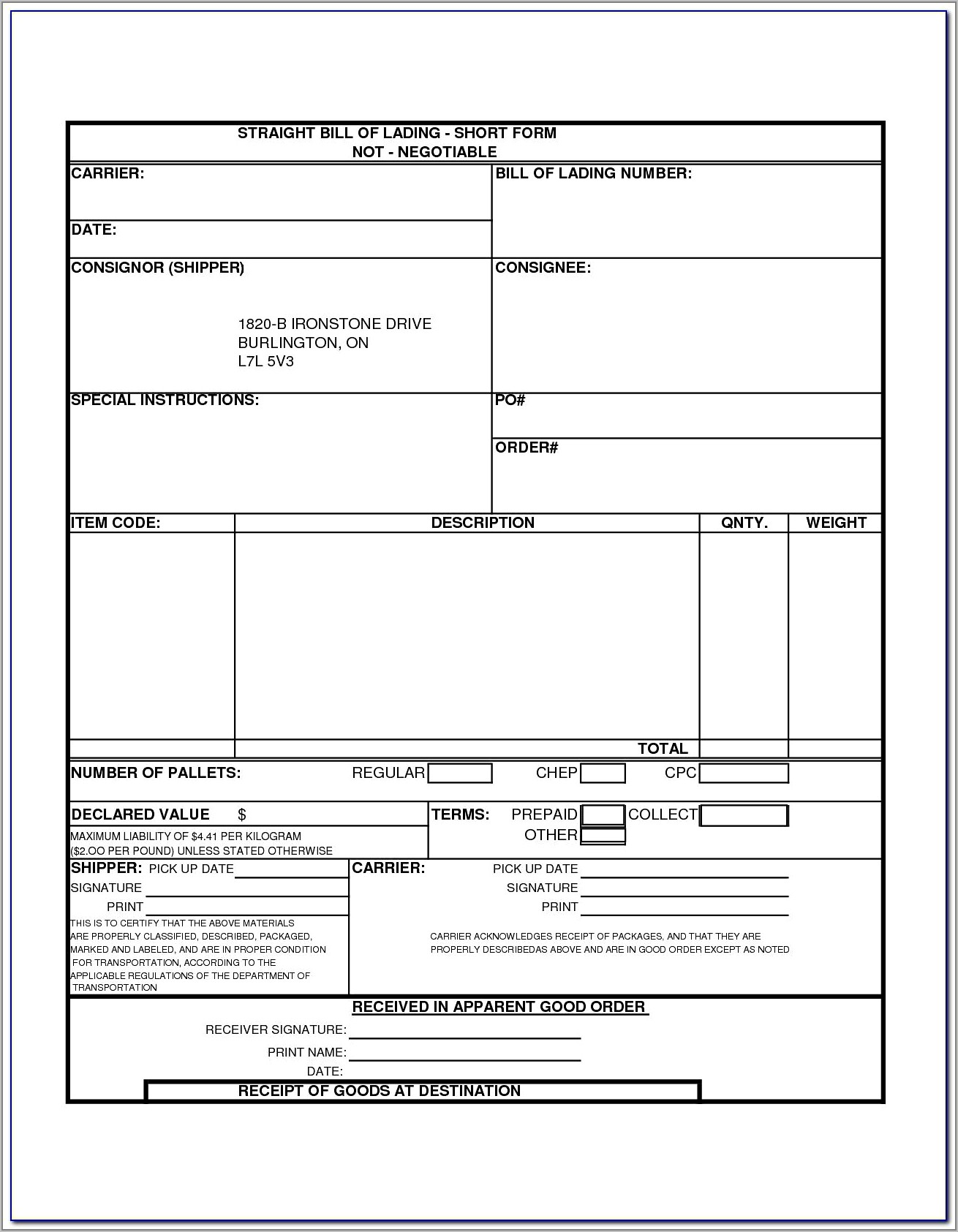 Fedex Straight Bill Of Lading Forms