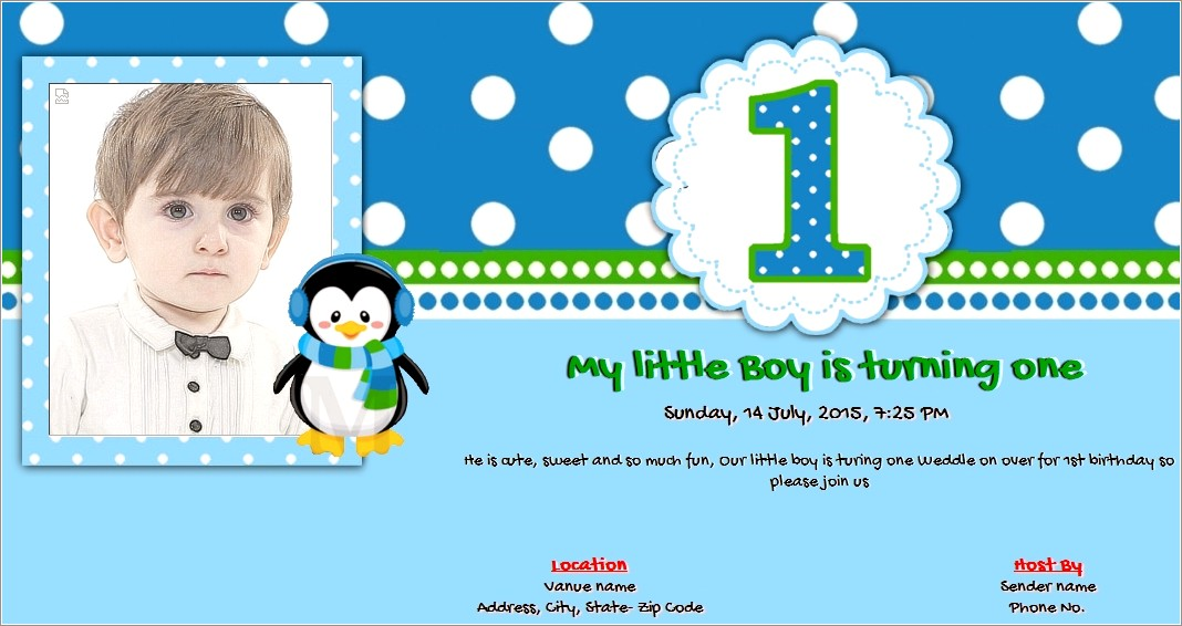 First Birthday Invitation Card Online