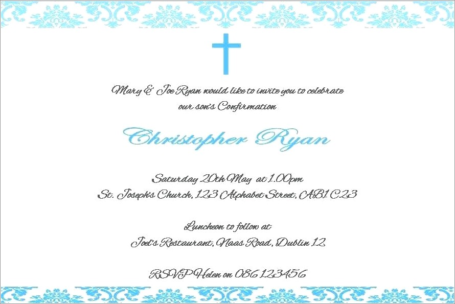 First Holy Communion Invitation Card Wordings