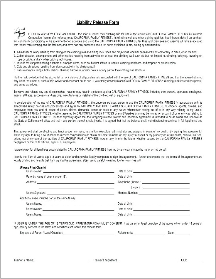 Fitness Waiver And Release Form Template Uk