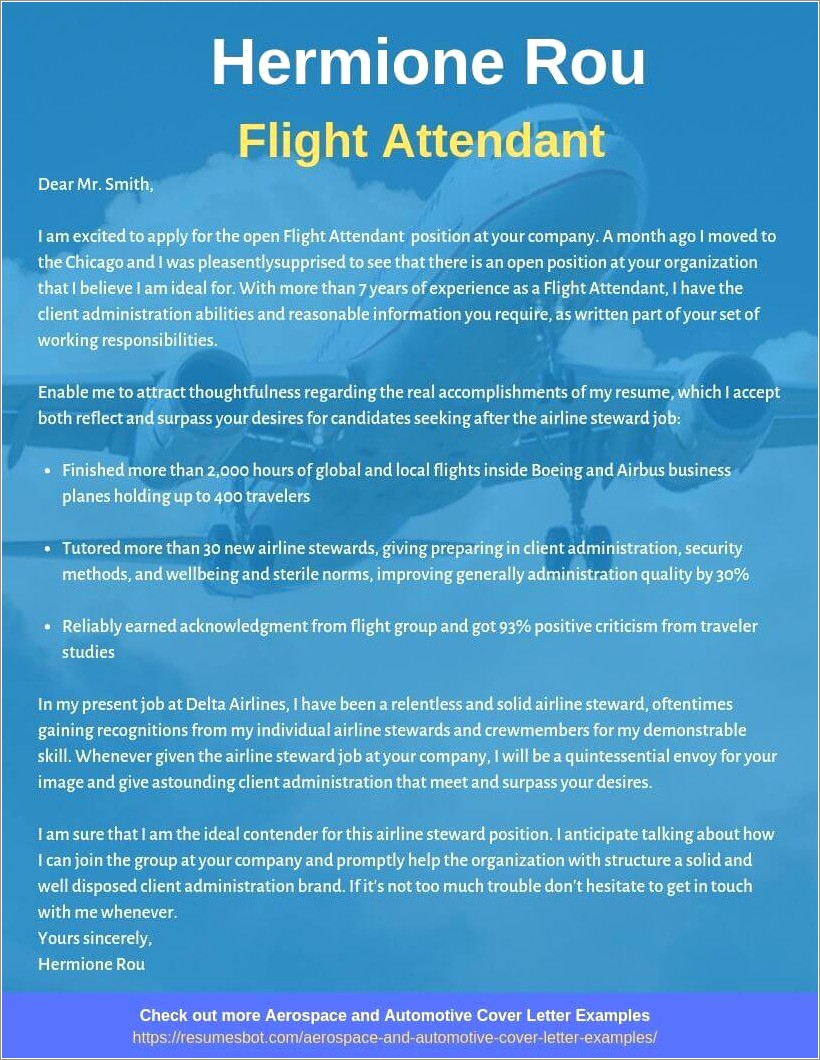 Flight Attendant Cover Letter Samples