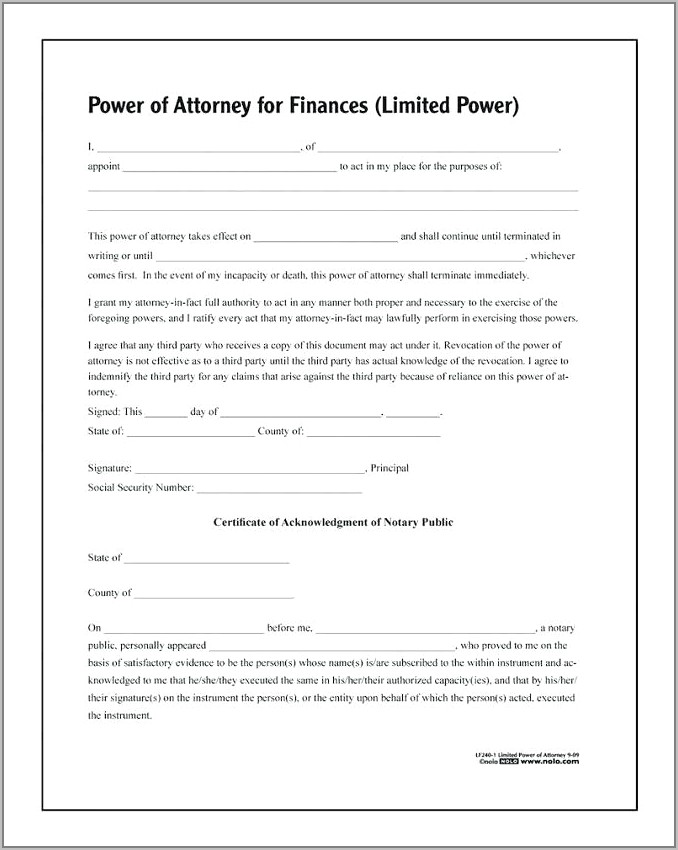 Florida Real Estate Power Of Attorney Template