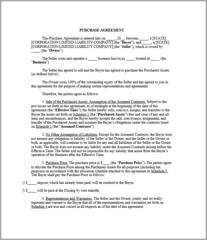 Florida Stock Purchase Agreement Form