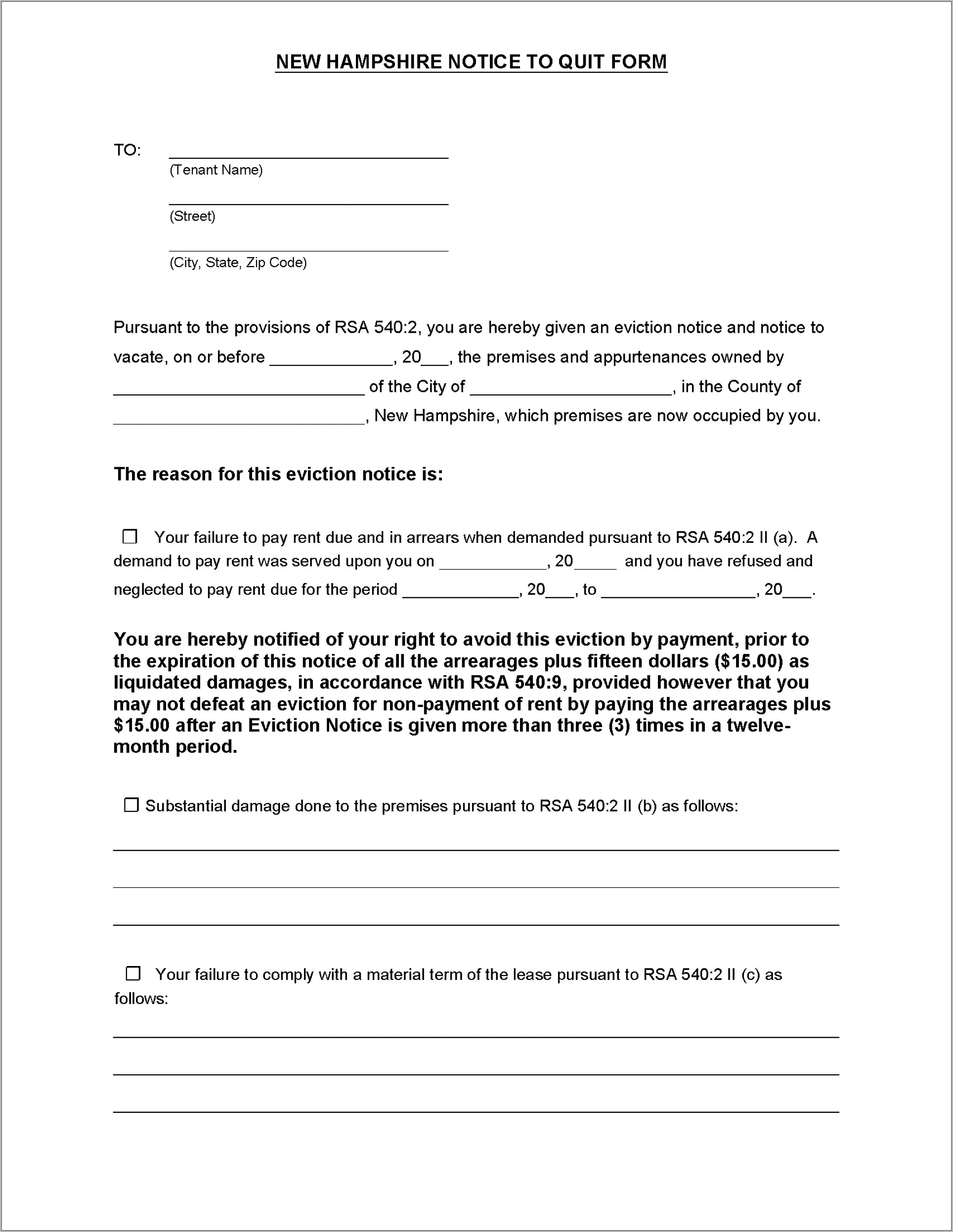 Florida Tenant Notice To Vacate Form