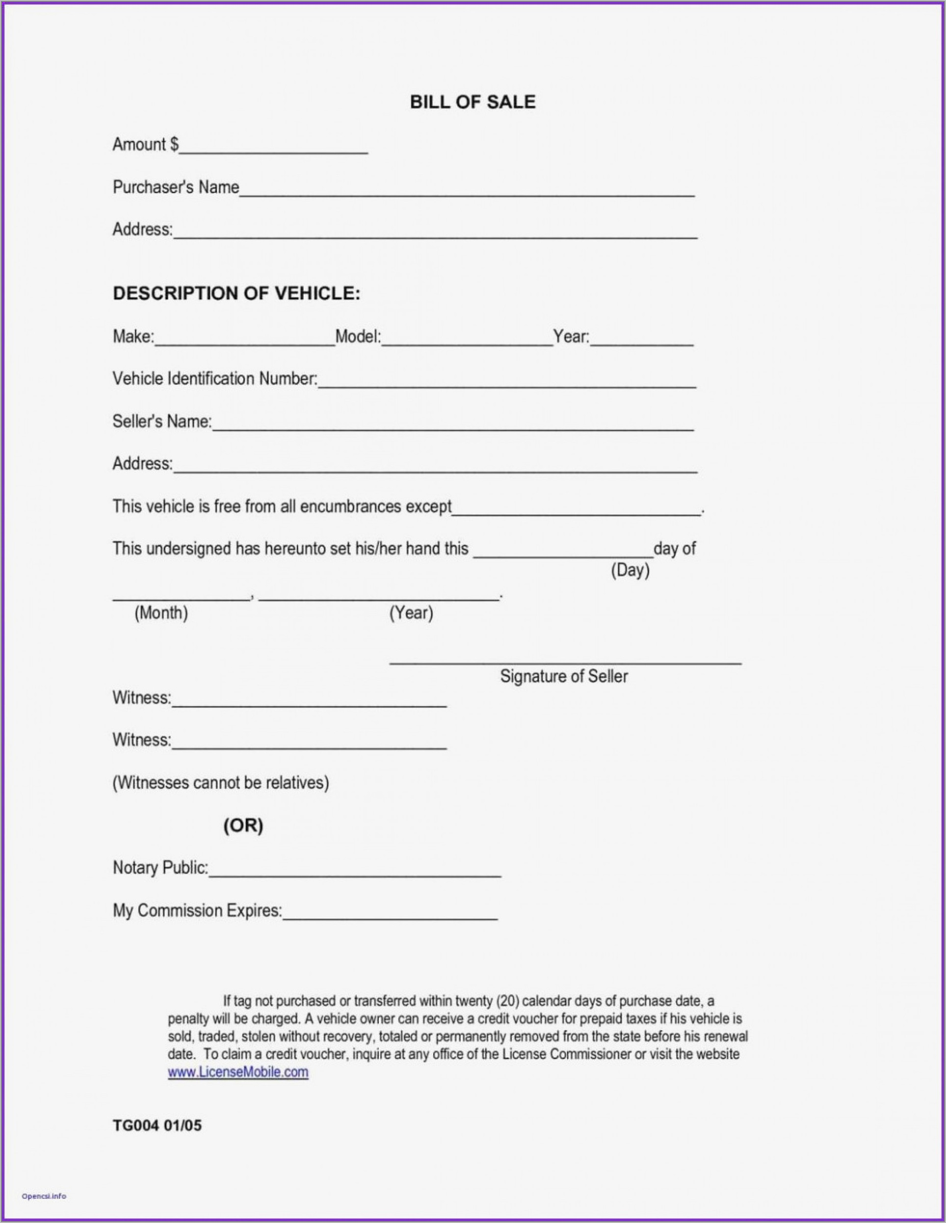 Form For Auto Bill Of Sale