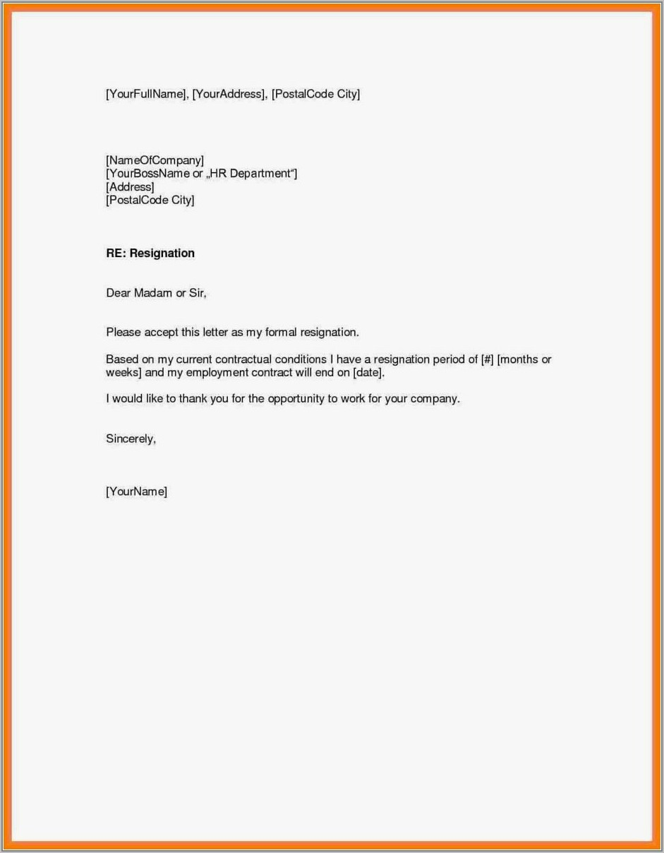 Formal Resignation Letter Template 2 Weeks Notice