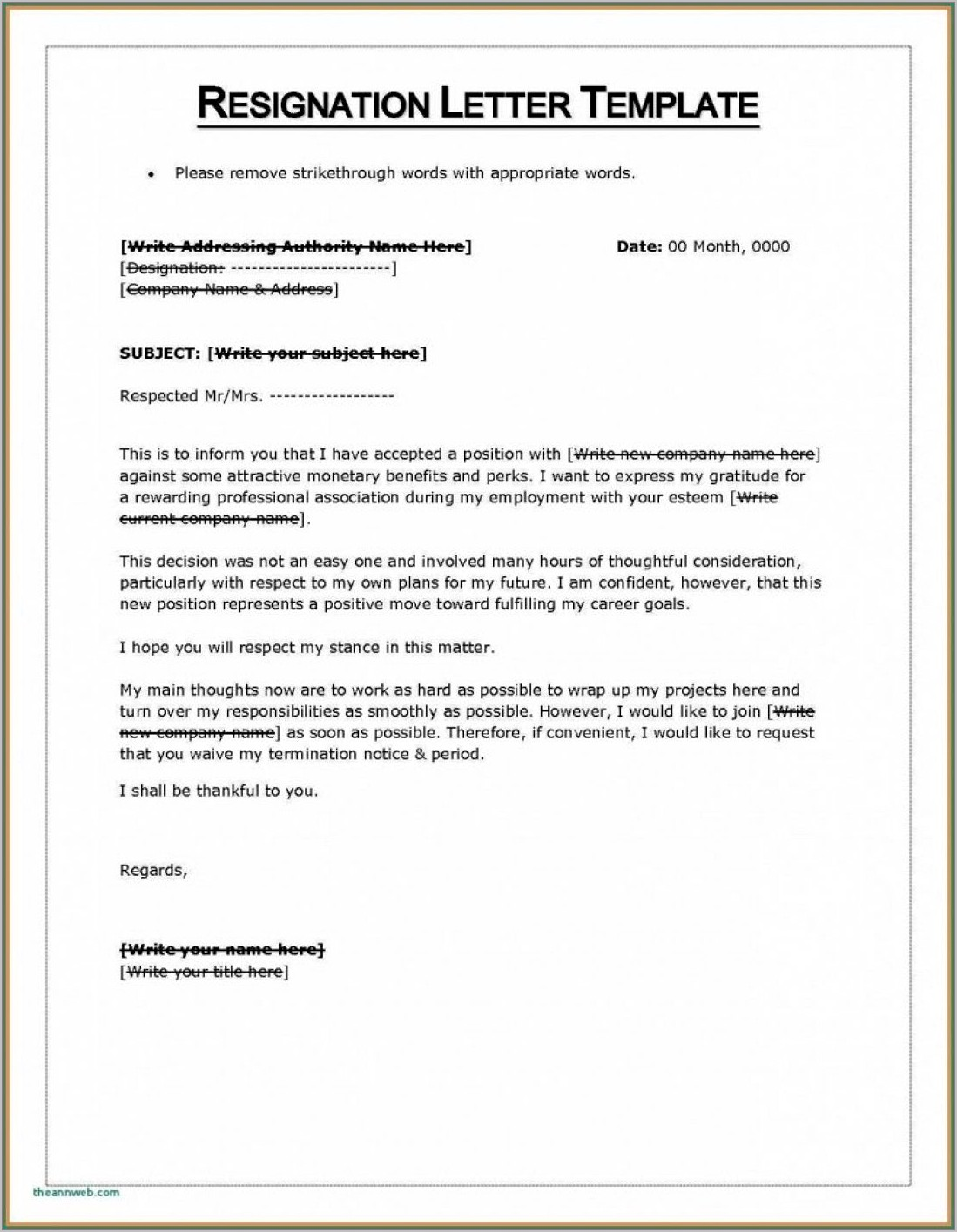 Formal Resignation Letter Template Singapore