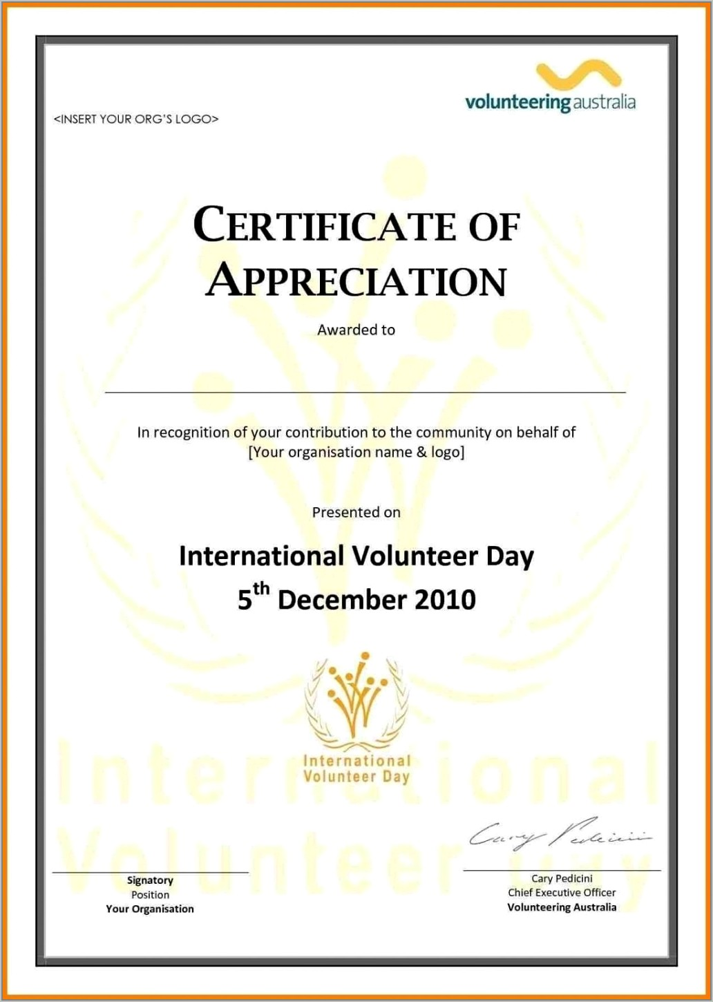 Format For Certificate Of Appreciation