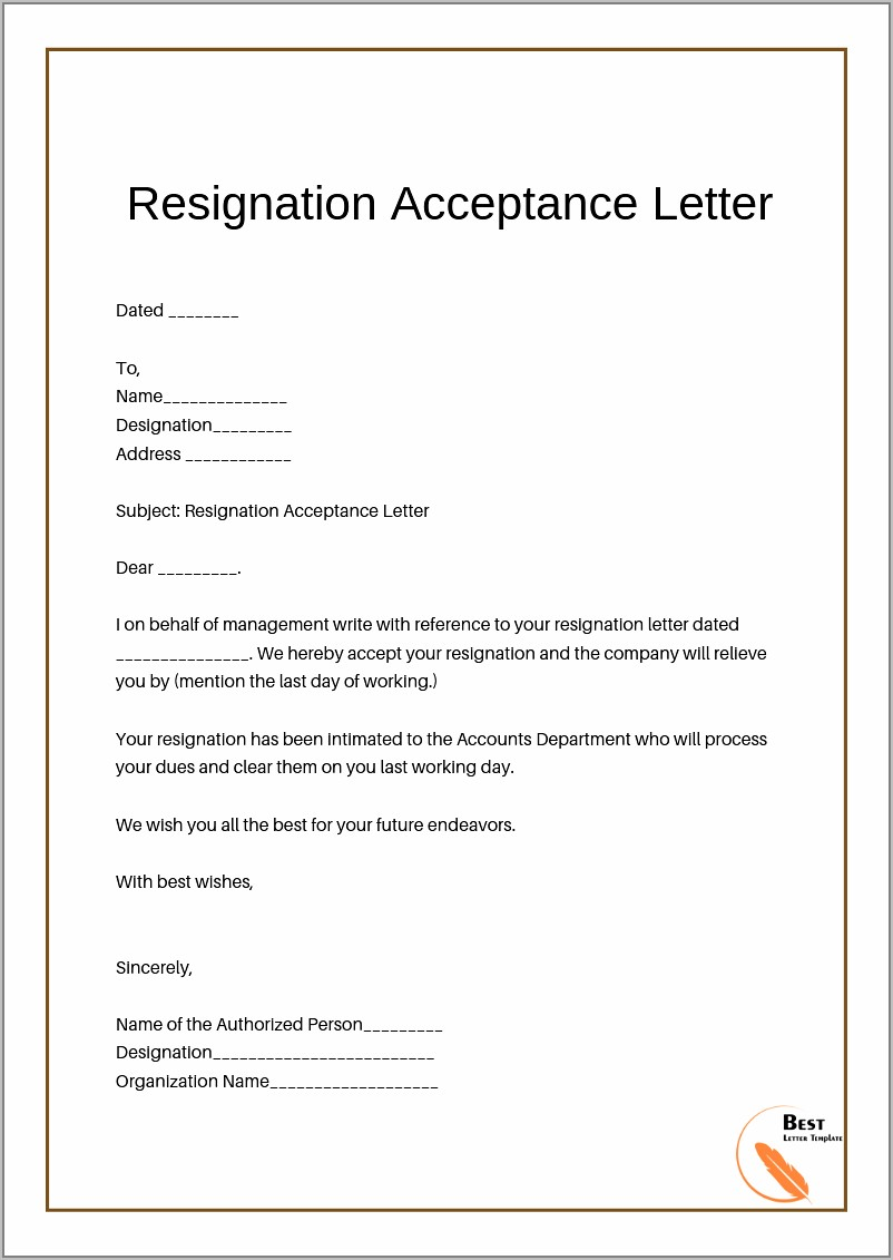 Format Of Acceptance Letter Of Resignation