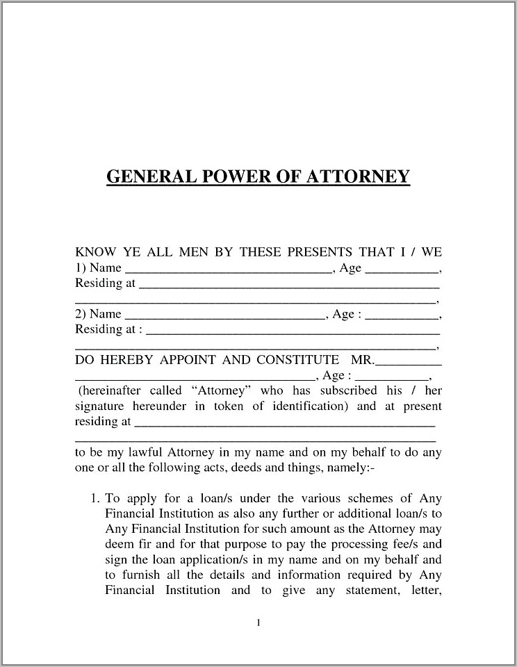 Format Of Power Of Attorney For Property