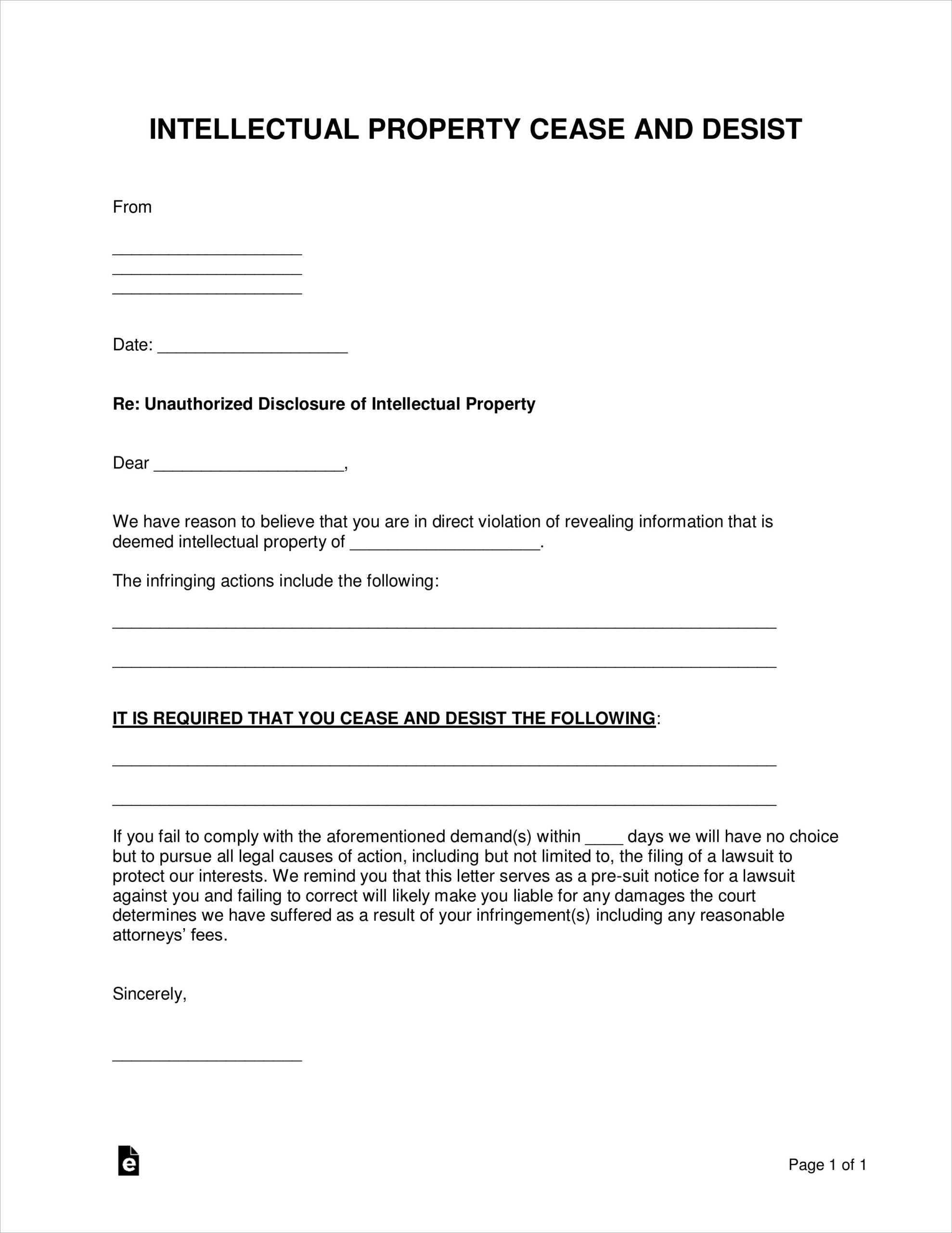 Free Cease And Desist Letter Pdf