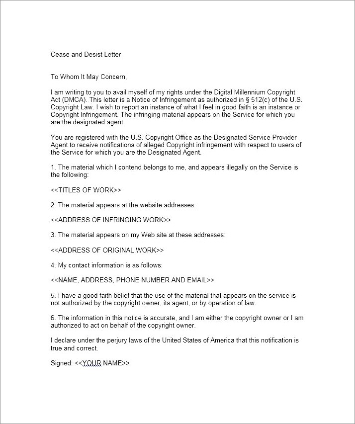Free Cease And Desist Letter Template Uk