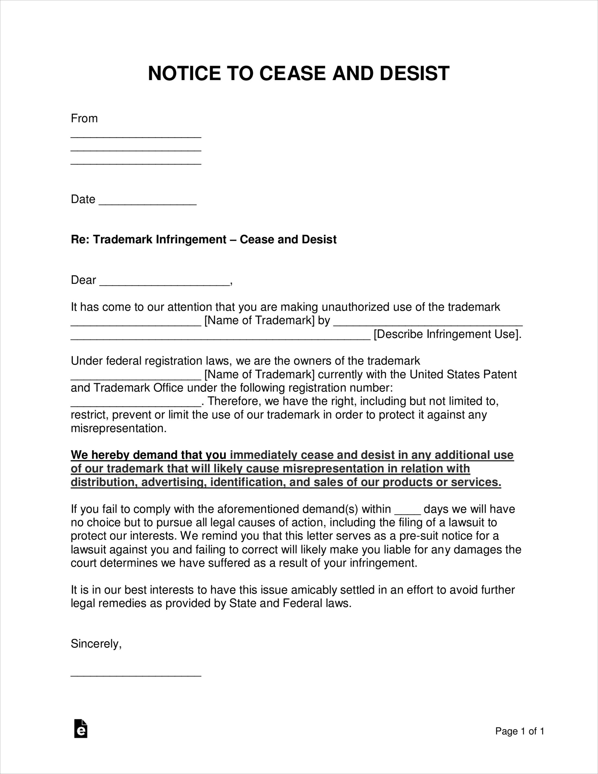 Free Cease And Desist Letter Uk