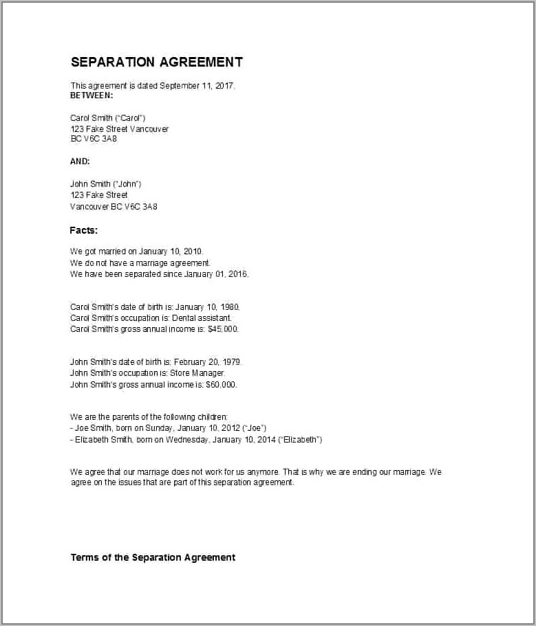 Free Common Law Separation Agreement Template Ontario