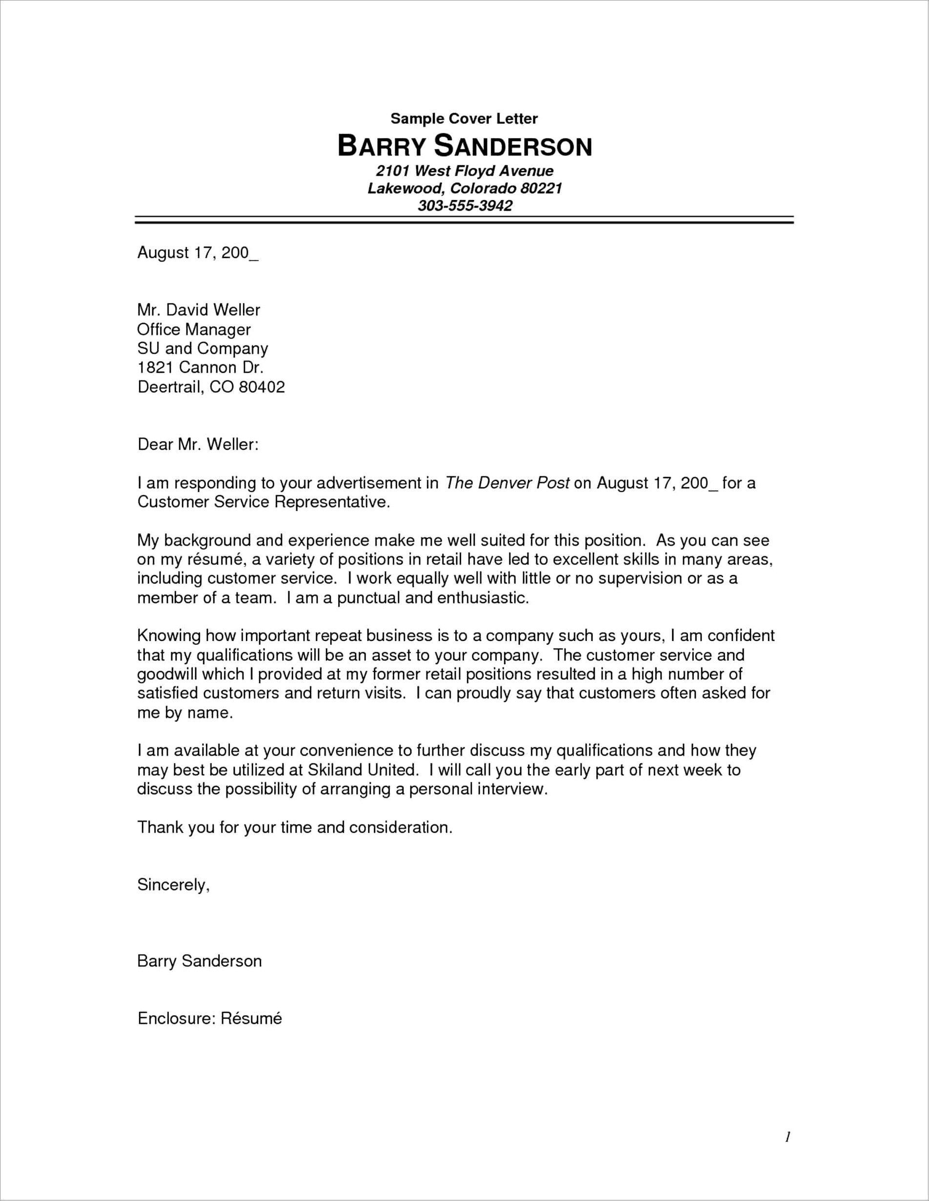 Free Cover Letter Builder And Download