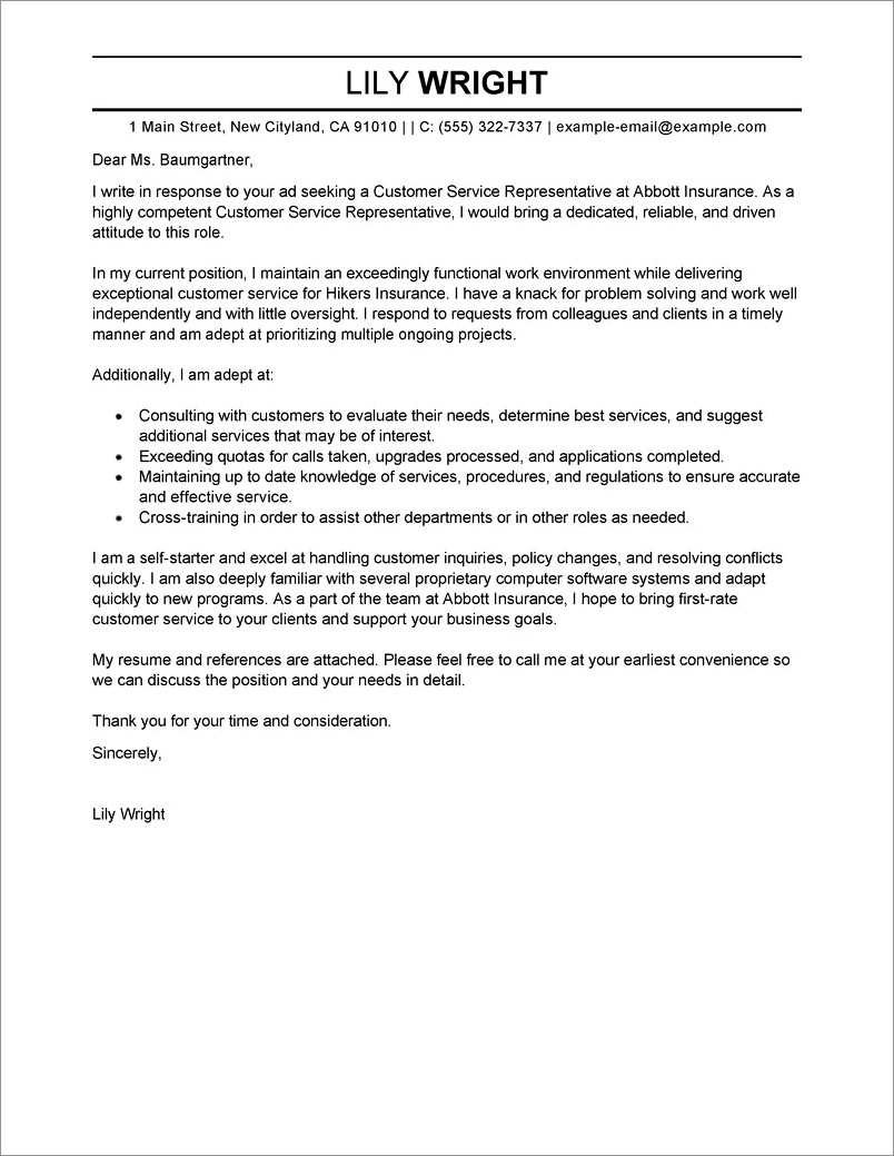 Free Customer Service Cover Letter Template