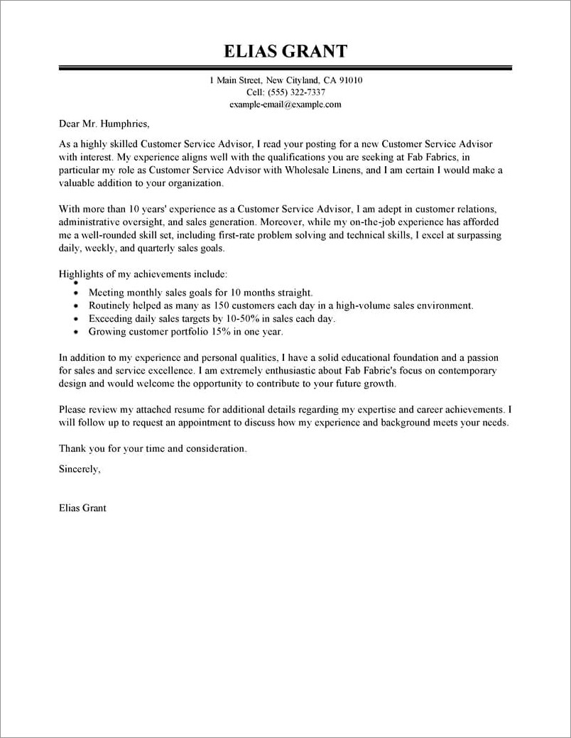 Free Customer Service Cover Letter