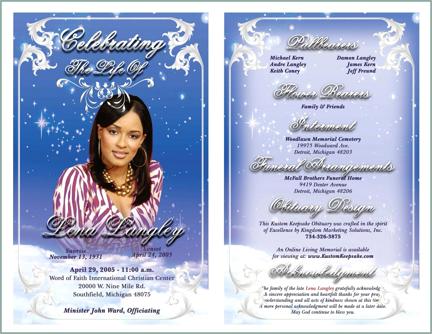 Free Download Template For Funeral Program