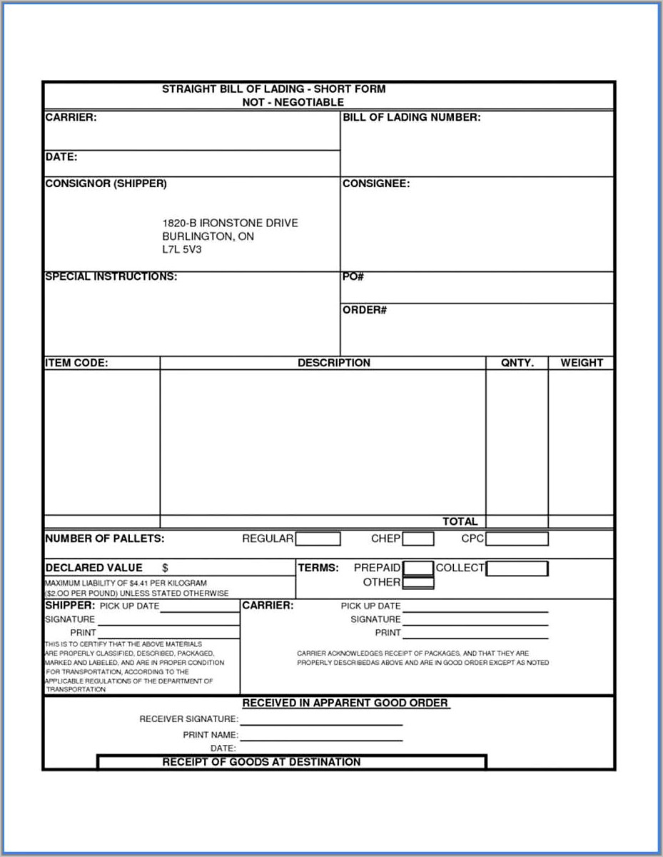 Free Freight Bill Of Lading Template