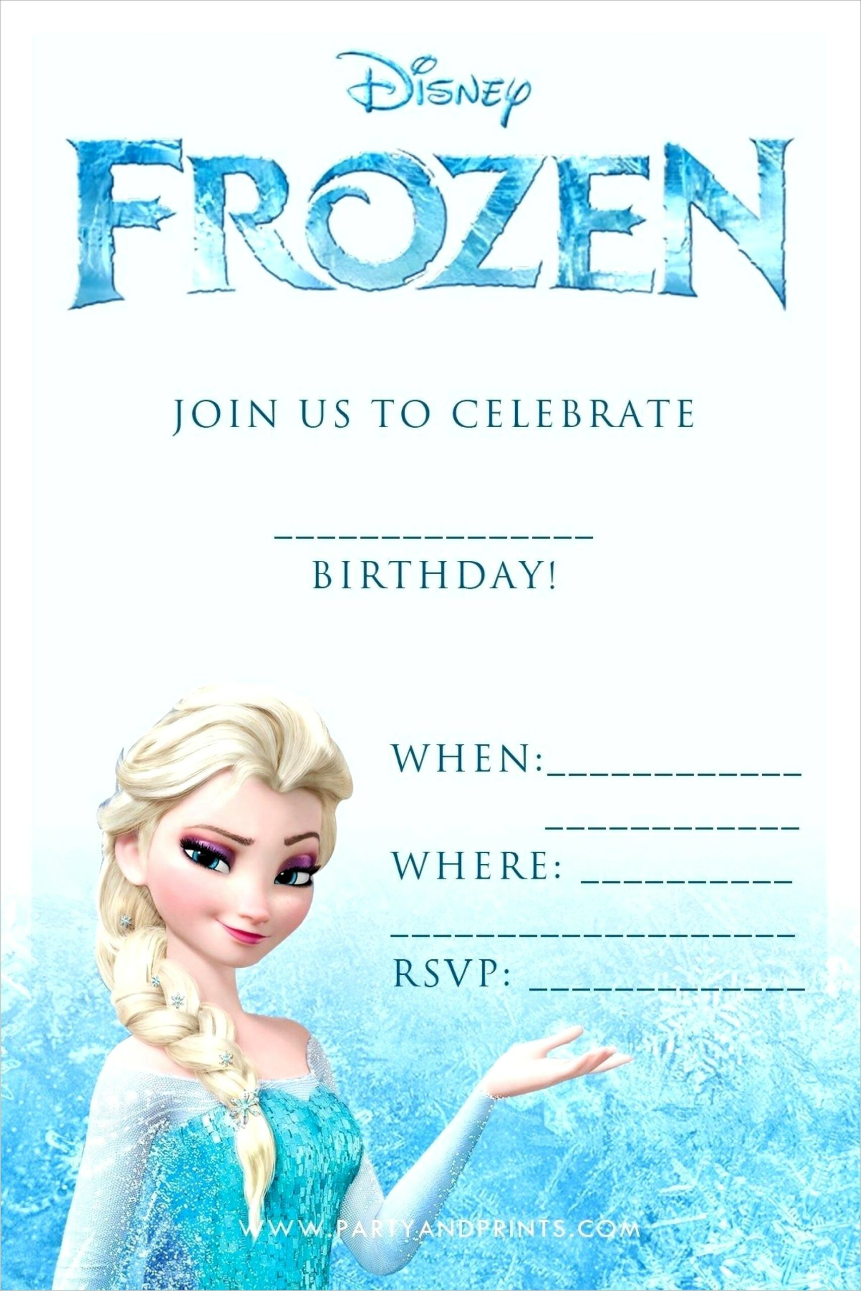 Free Frozen Birthday Invitation Card Template Scaled