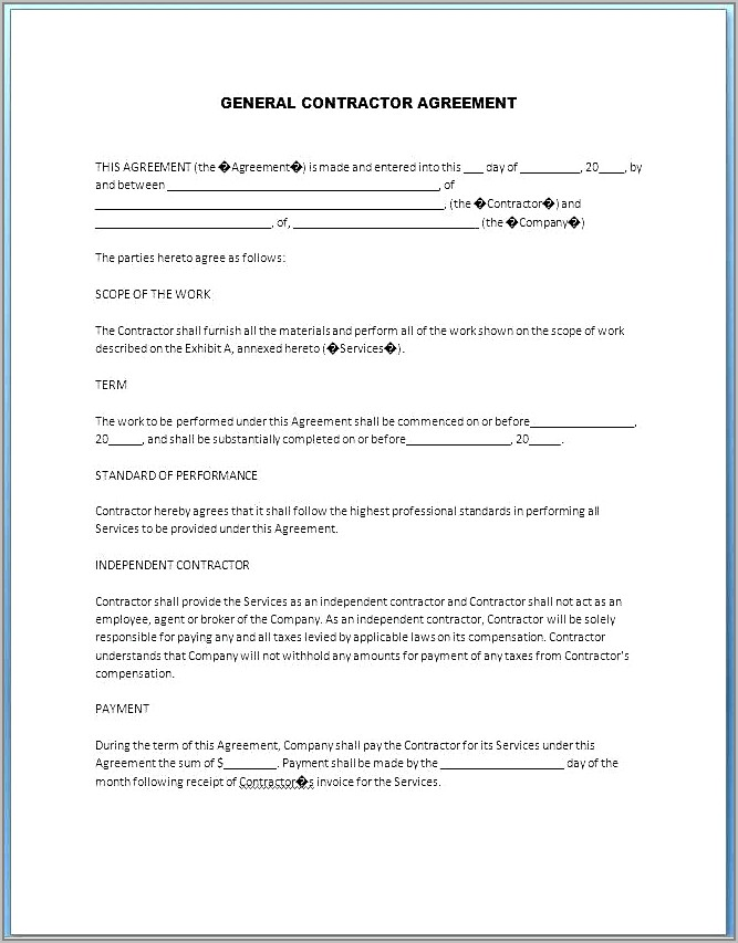 Free Home Renovation Contract Template