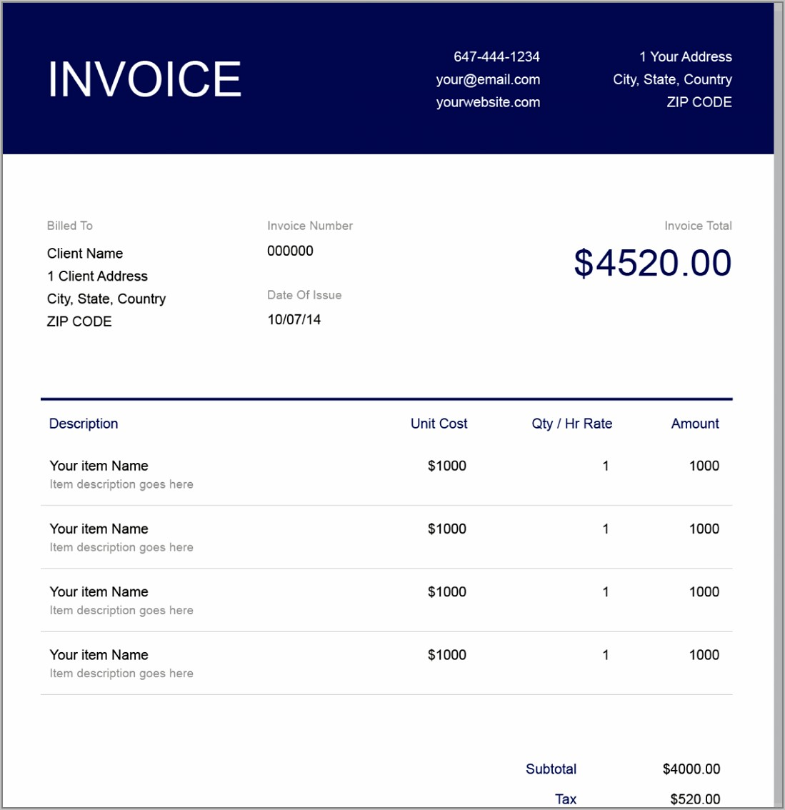 Free Invoice Template For Hourly Billing