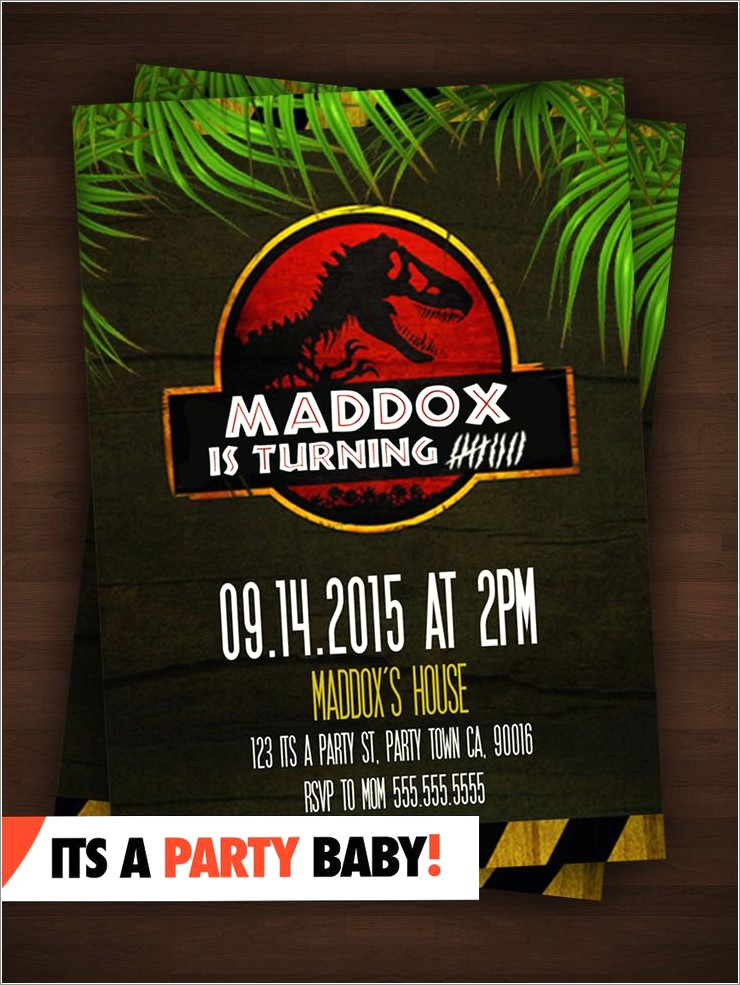Free Jurassic Birthday Invitations