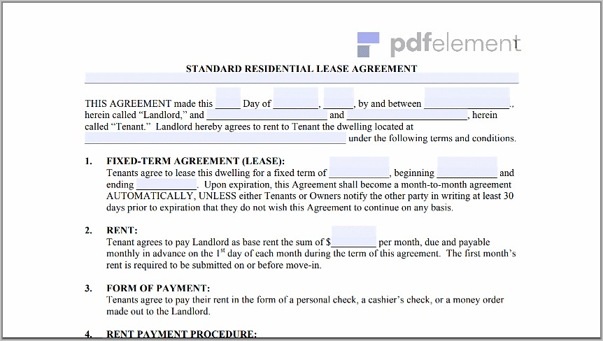 Free Landlord Tenant Lease Agreement Template (105)