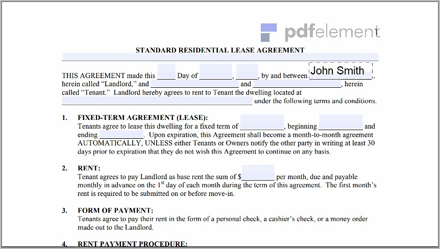 Free Landlord Tenant Lease Agreement Template (213)