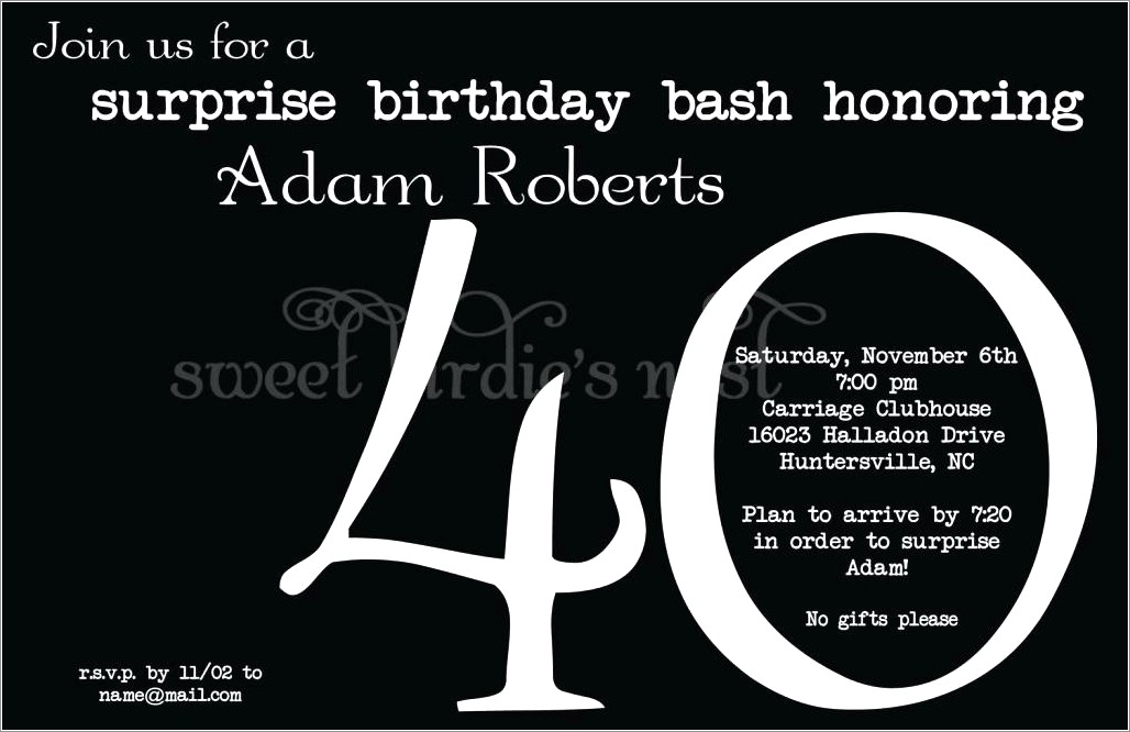 Free Printable 40th Birthday Invitations For Her