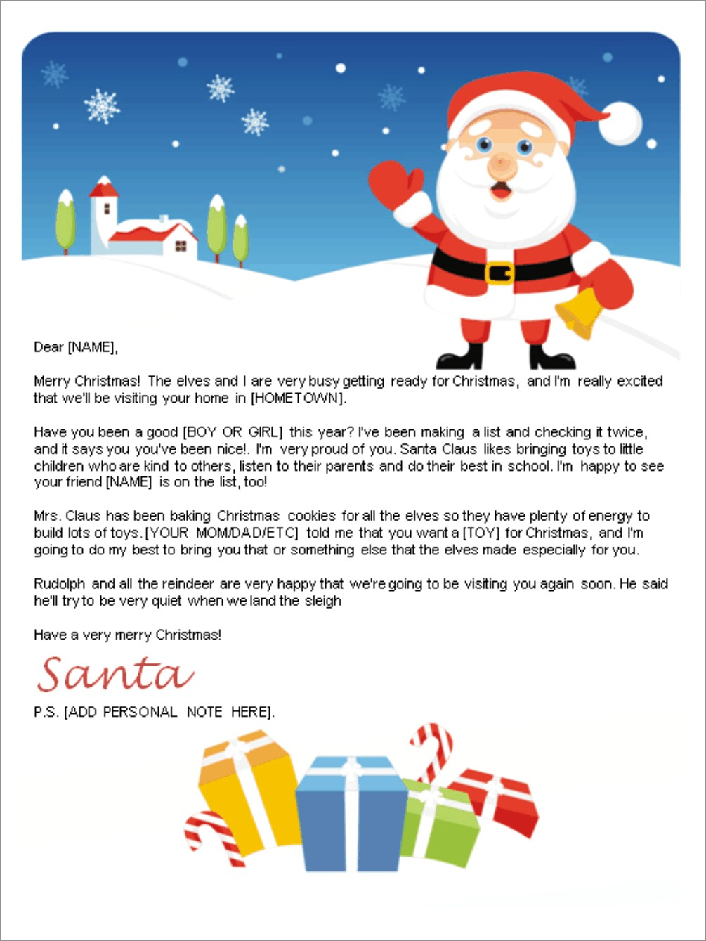 Free Printable Customizable Letters From Santa