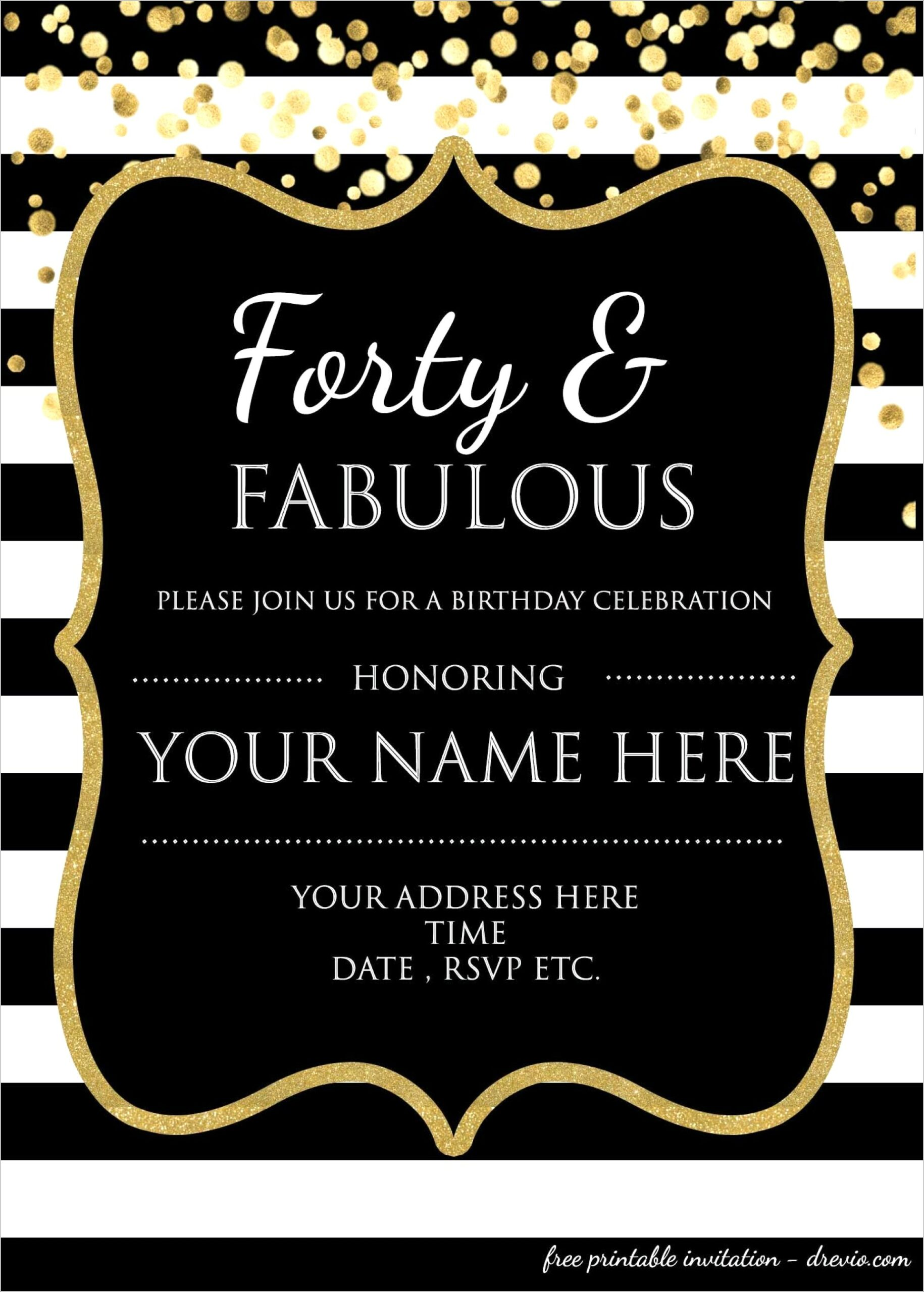 Free Printable Free 40th Birthday Invitations Templates Scaled
