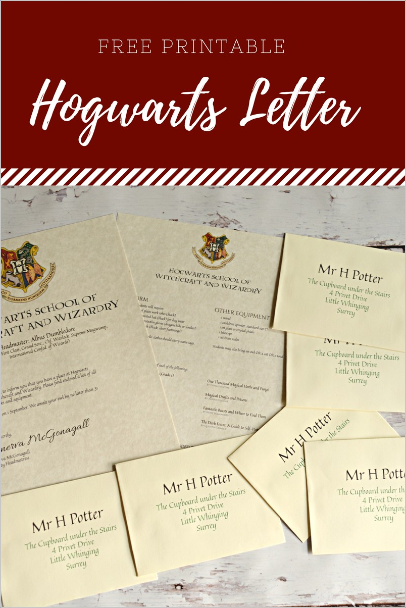 Free Printable Harry Potter Letter