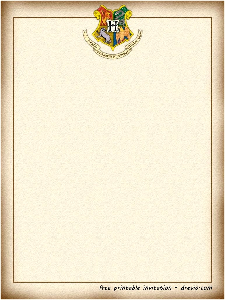 Free Printable Template Harry Potter Letter