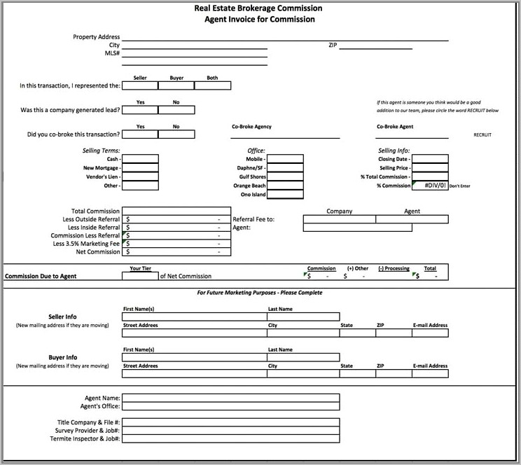 Free Real Estate Commission Invoice Template