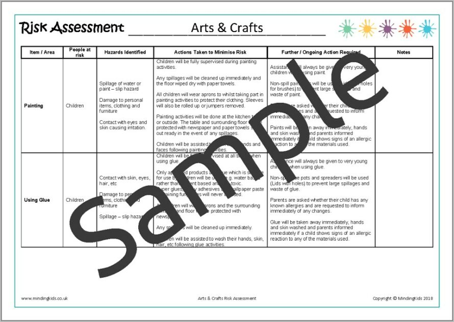 Free Risk Assessment Forms For Childminders