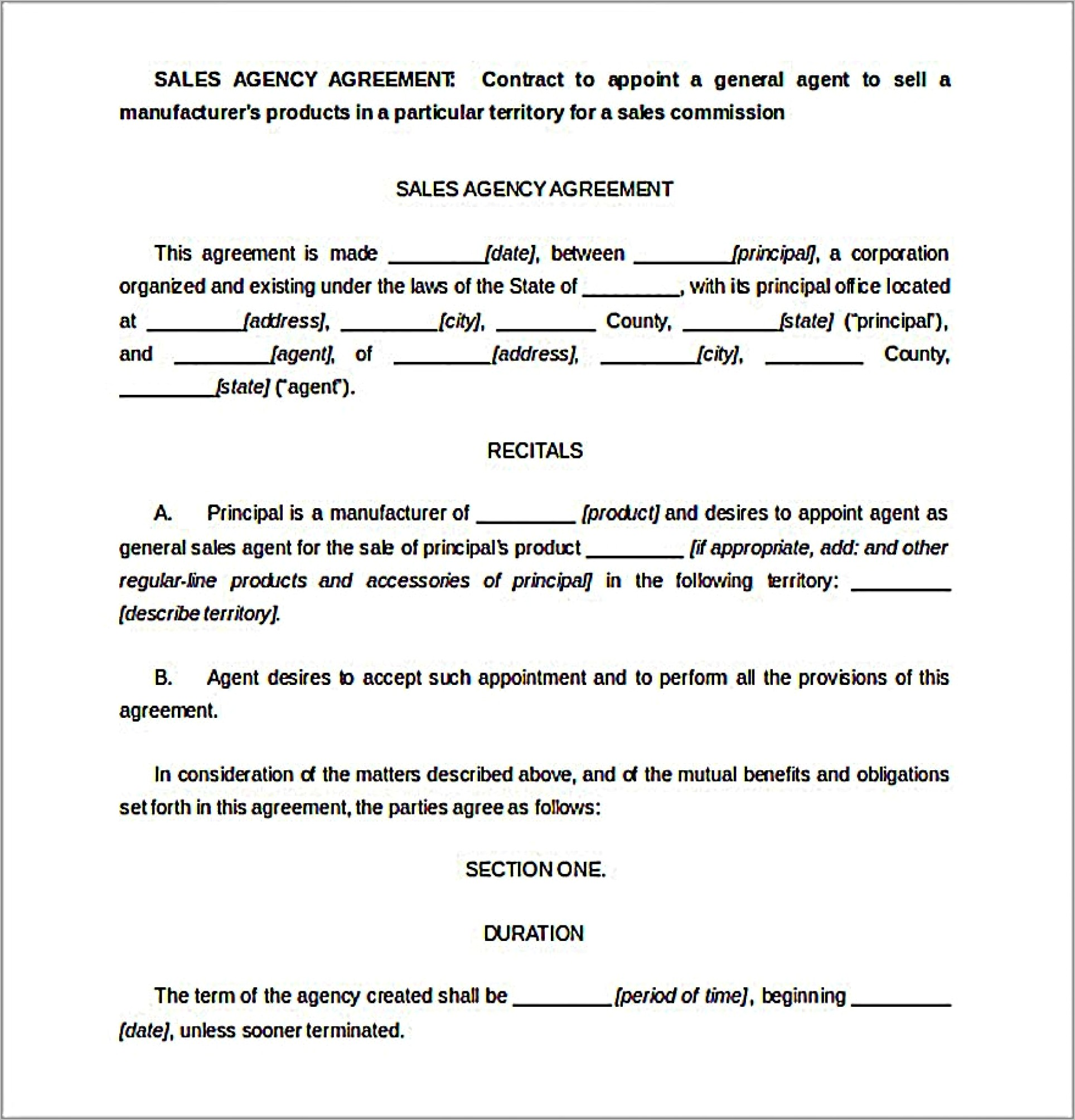 Free Sales Commission Agreement Template Uk